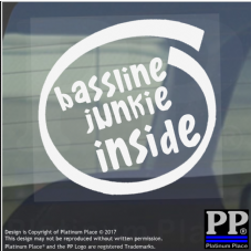 1 x Bassline Junkie Inside-Window,Car,Van,Sticker,Sign,Vehicle,Adhesive,Music,DJ